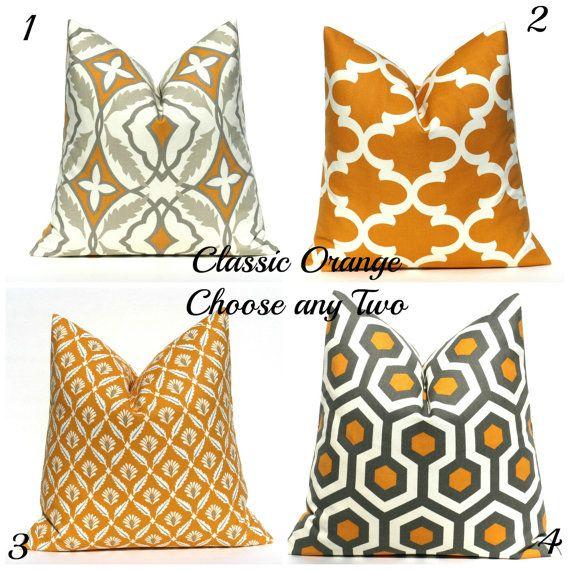 Orange And Gray Decorative Pillows : Decorative Throw Pillow Orange Gray Throw Pillow Covers 20x20 TWO Bur?