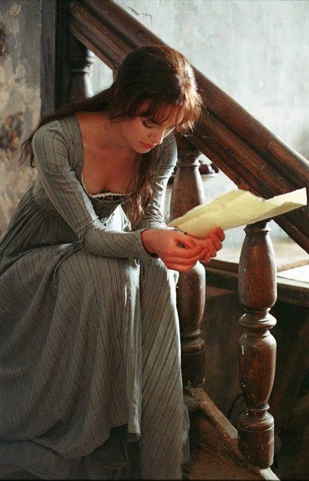 Keira Knightley as Elizabeth Bennet in Pride and Prejudice (2005). Reminds me of a Waterhouse painting.