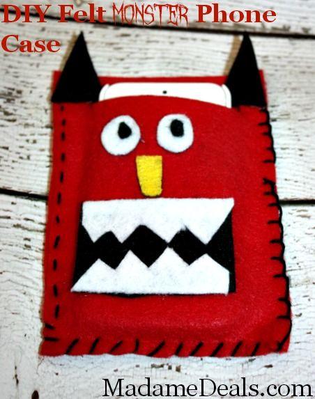 Felt Craft Projects: DIY Felt Phone Case #crafts #feltcrafts