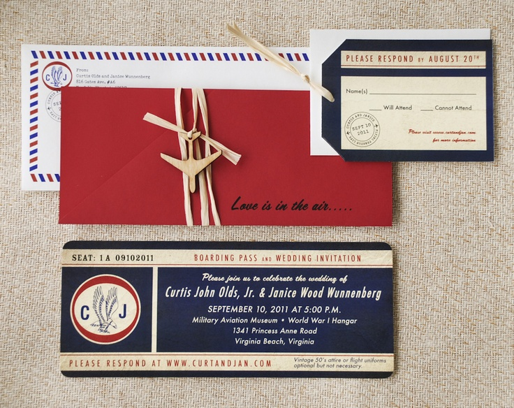 vintage air mail boarding pass invitation love is in the