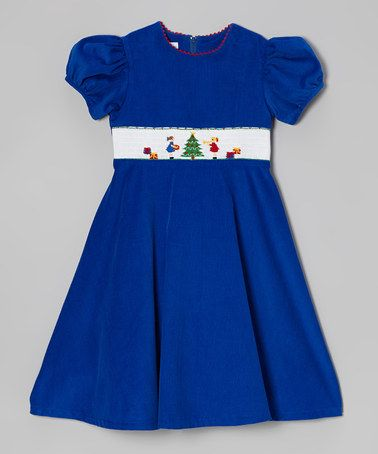 Another great find on zulily dark blue christmas tree smocked dress