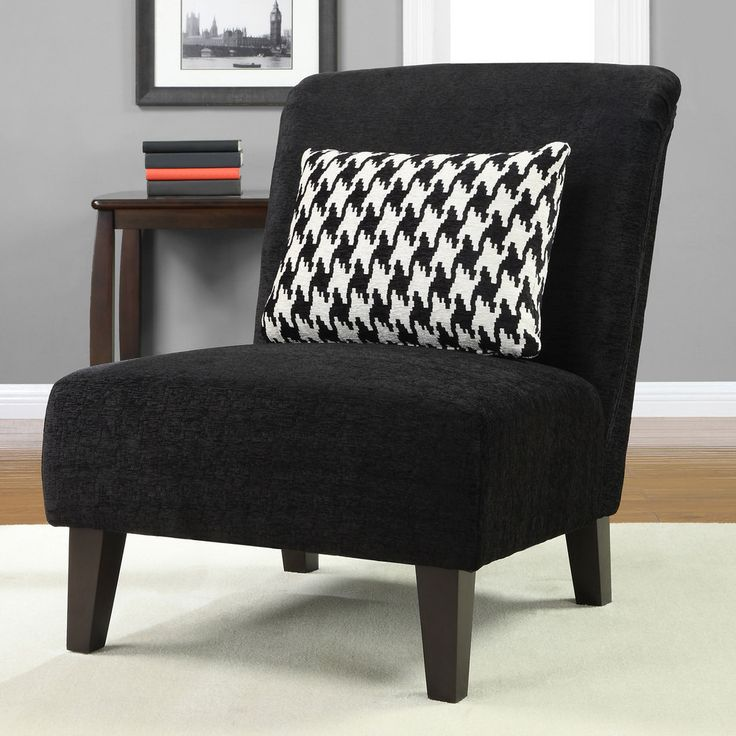 Anna Black Accent Chair with Houndstooth Grande Pillow | Overstock.com . - Black Living Room Chair DUDU Interior & Kitchen Ideas