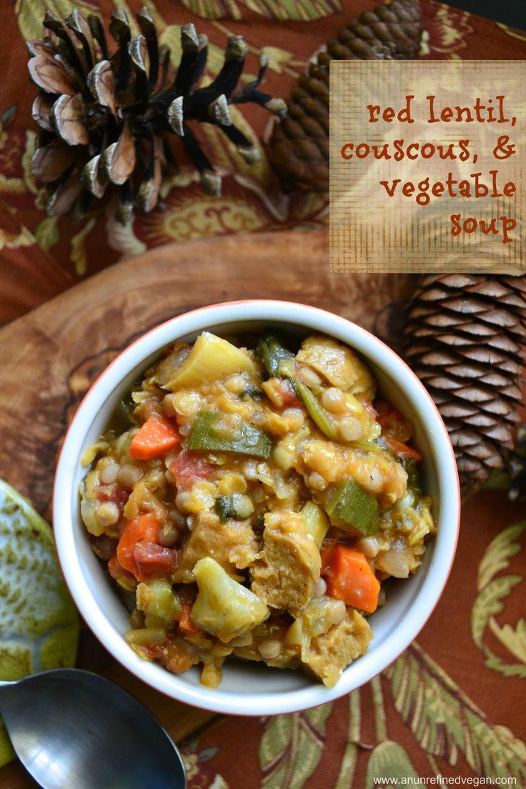 Virtual Vegan Potluck: Red Lentil, Couscous, & Vegetable Stoup. Oil ...