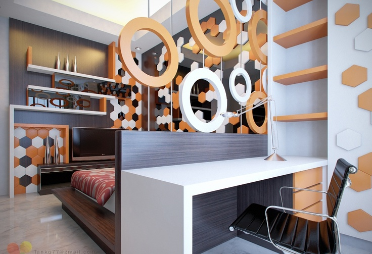 Bedroom Design, Various Modern Kids Room Inspirations: Orange White And Black Kids Room Interior With Mosaic And Round Accessories