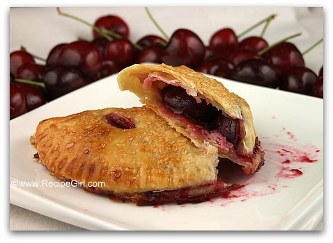 fresh cherry turnovers with cream cheese pastry