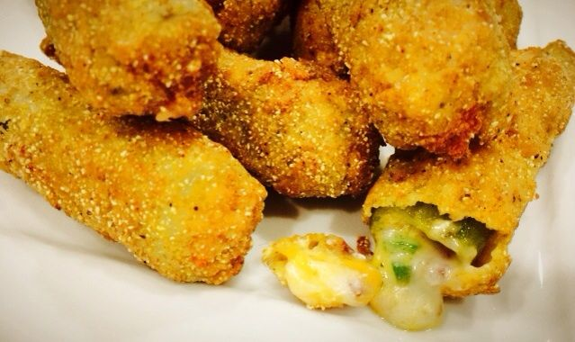 Cheddar Bacon Okra Poppers...delicious! | New Recipes | Pinterest