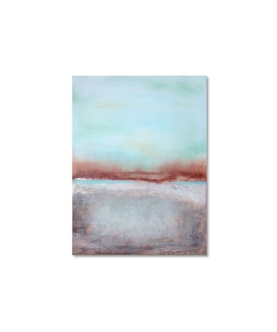 Burnt Sienna Wall Art Blue and Brown Painting