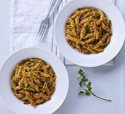 Roasted red pepper & parsley pesto with penne ... Try a new take on ...