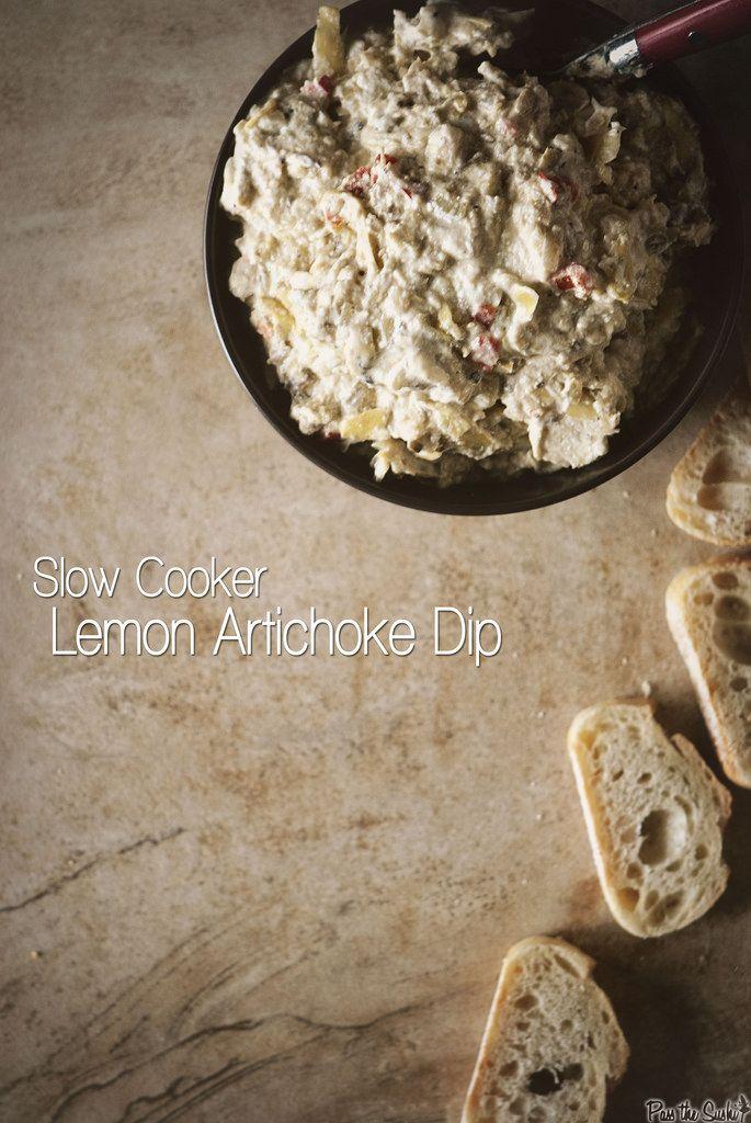 Slow Cooker Lemon Artichoke Dip // PasstheSushi.com