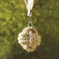 Clip-On Rope Knot Tablecloth Weights for outdoor dining - makes sure your tablecloth doesn't go flying away