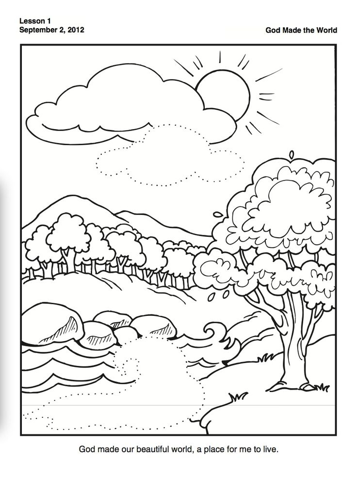 Creation Coloring Pages For Kindergarten : Creation coloring page for preschoolers family time w