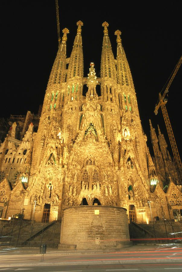 Night view of antoni gaudis la sagrada print by richard nowitz for La sagrada familia barcelona spain