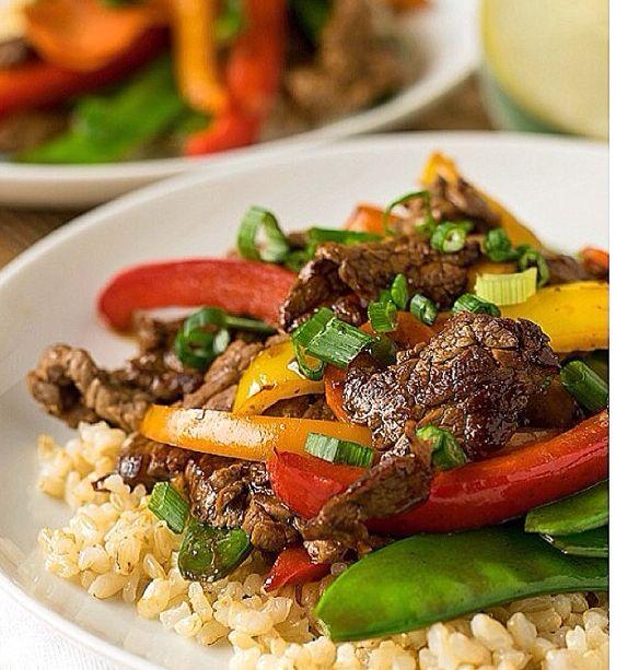 Beef Teriyaki & Vegetables: 1/3 c dry uncooked short grain brown rice ...