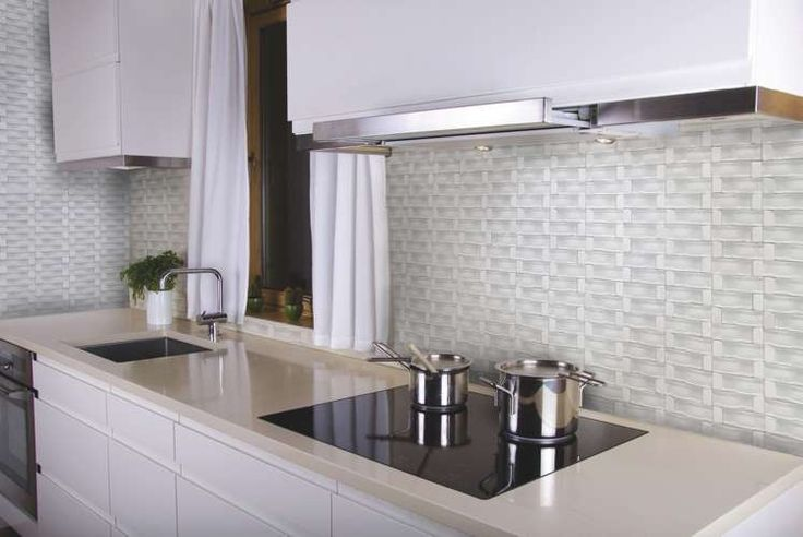 """White tile in a pattern for an elegant, but classic look. 1""""X2"""" Bixby Blend 18488."""