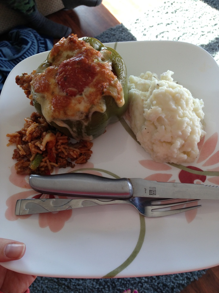 Fajita Stuffed Peppers: Ground Beef & Spicy Italian Sausage mixed with ...