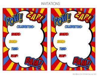 free superhero invitations templates