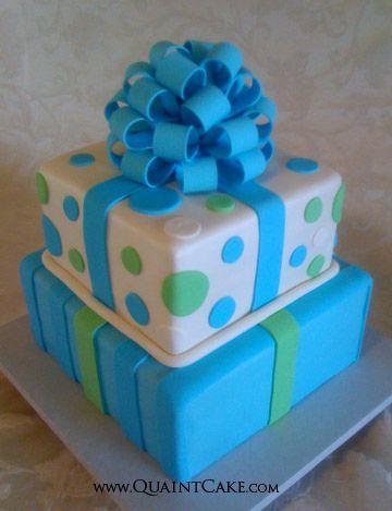 Cake Decorating Gift Box : Blue Gift Box Cake Cake decorating ideas Pinterest
