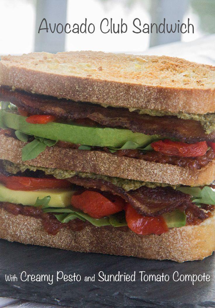 Avocado club sandwich with creamy pesto & sun-dried tomato compote.