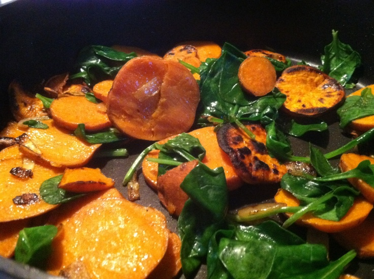 Stove-top sweet potatoes with wilted spinach