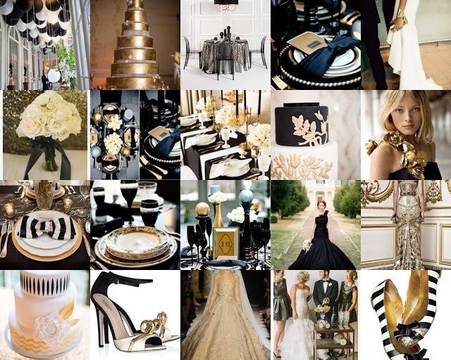 Wedding Colors Black Ivory And Gold