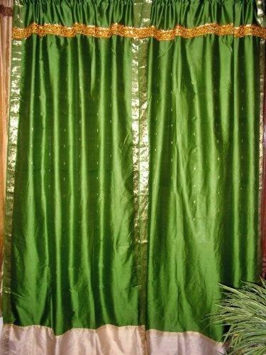 Sari Curtains Hunter Green Art Silk Sari Window Panels Drapes ...
