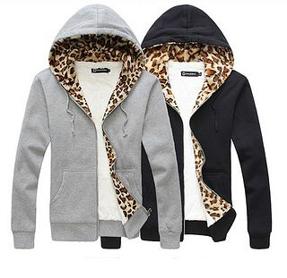 Cozy Hoodie with Leopard Print Lining