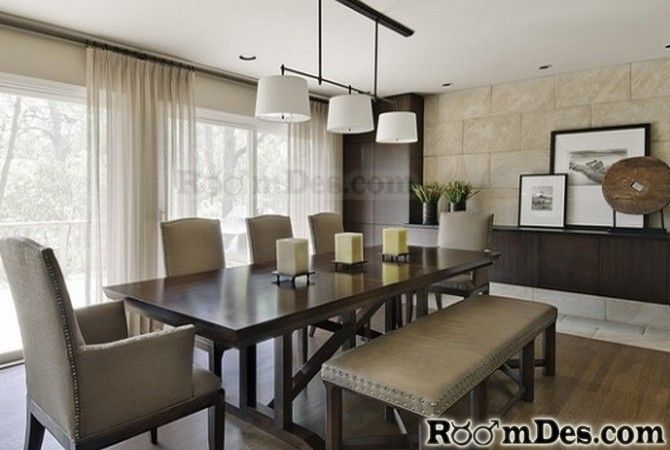 People Incorporates A Bench Seating Fabric Chairs Wooden Table