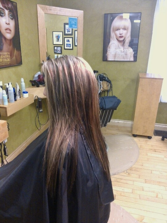 ... foil of beige blonde highlights, client used to have dark brown hair
