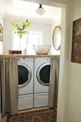 Use Curtains To Hide Washer And Dryer For The Home