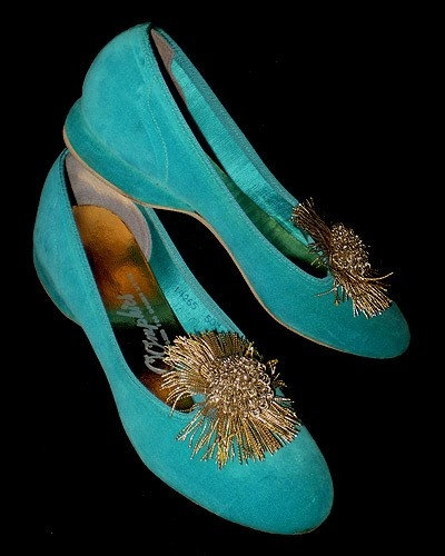 Vintage 50s Turquoise Velvet Slippers OOmphies 5 by TheSpectrum, $15.00
