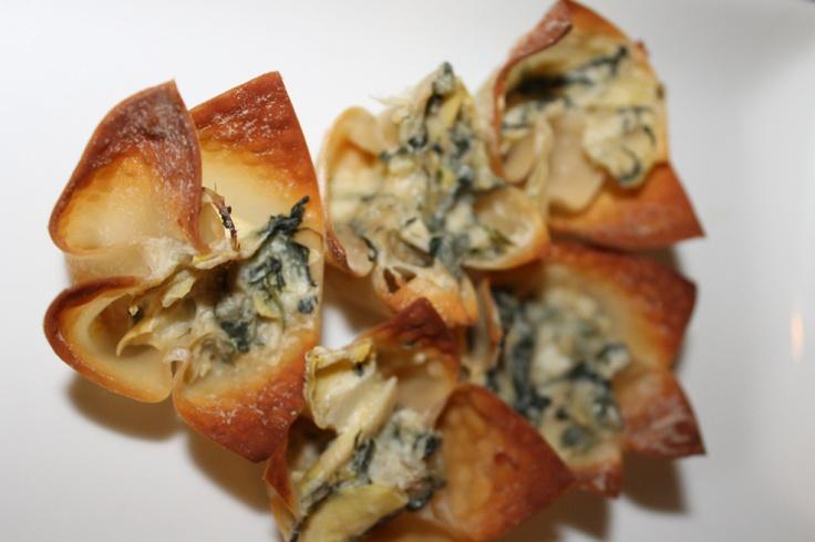 Spinach Artichoke Wonton Cups | murdermystery | Pinterest