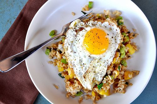 Fried rice made with brown rice, scallion, ginger, edamame and ...