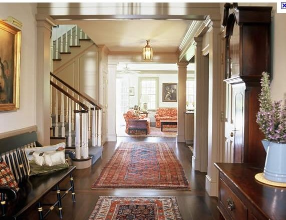Foyer with rugs antiques and home decor pinterest for Foyer rugs decorating