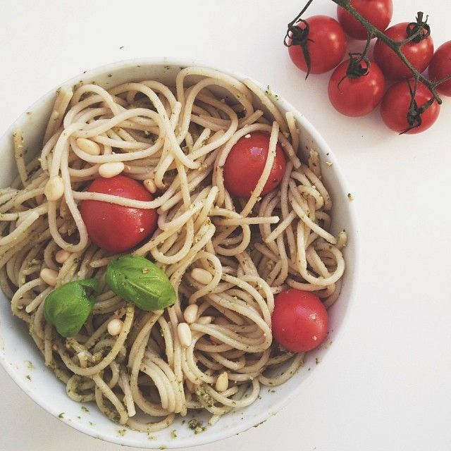 Pasta With Basil Pesto, Pine Nuts And Cherry Tomatoes Recipe ...