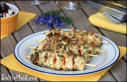 2 chicken breasts, cut into bite-sized pieces  3 tbsp olive oil  4 tbsp lemon juice  zest of one organic lemon  4 garlic cloves, grated  2 tbsp chopped cilantro or parsley  salt, pepper