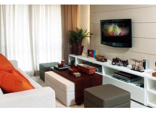 Sala De Estar O Living Room ~ Living room, small spaces, parede revestida, rack de televisão, sala
