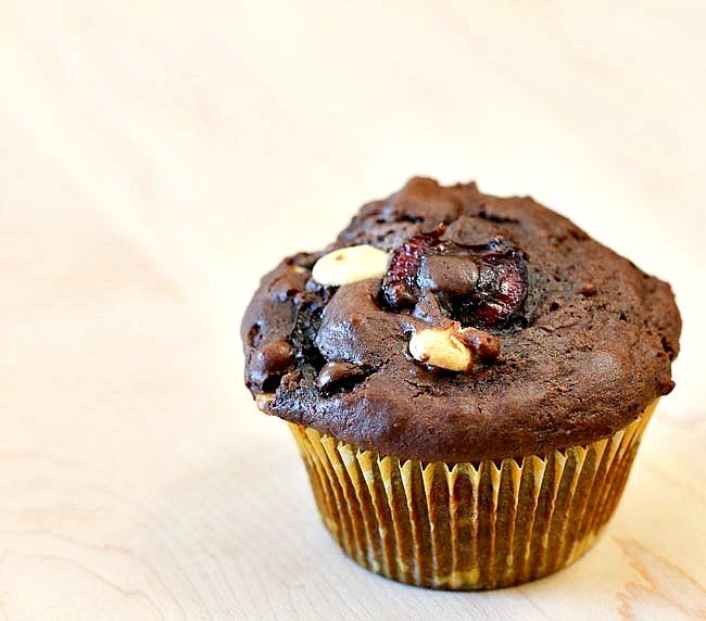 Double Chocolate Cherry Muffins Recipe — Dishmaps