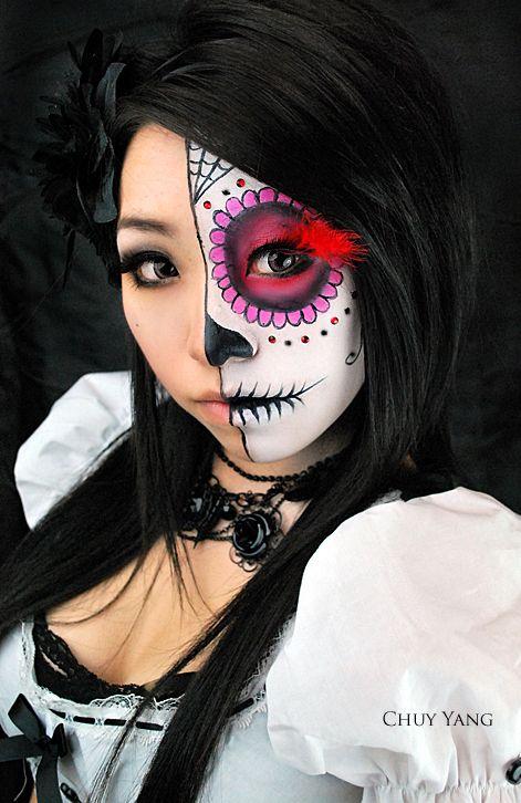 half face half sugar skull sugar skull makeup pinterest