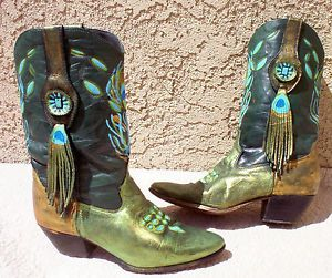 Excellent Upcycled Hand Painted Cowboy Boots  Size 10 In Mens Size 11 In Womens