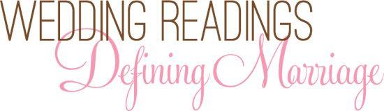 wedding readings defining marriage