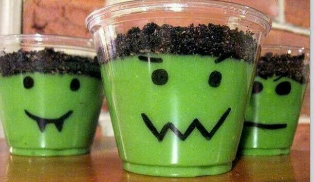 Easy Halloween treat for kids to make: vanilla pudding with green food coloring a plastic clear cup, a sharpie and crushed up oreo cookies ~ voila !
