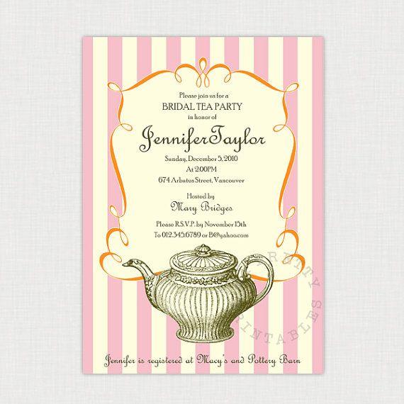 ... Bridal Tea party - DIY printable Wedding or Bridal Shower Invitation