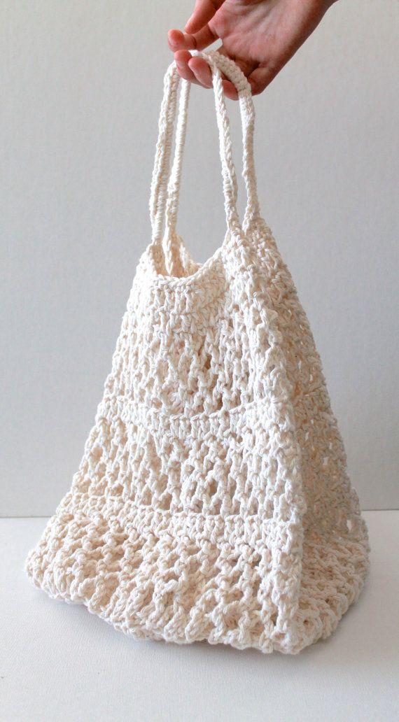 Market Bag Crochet : Crochet Market Tote Bag Organic Cotton Fancy by creativecarmelina, $15 ...