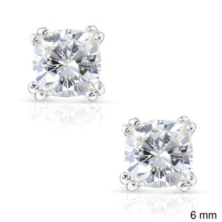 14k Gold Cushion-cut Moissanite Stud Earrings