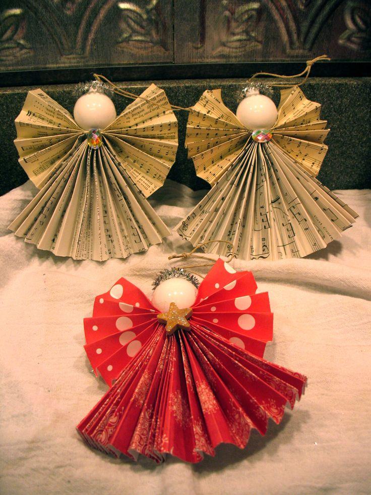 paper angel ornaments  christmas  Pinterest