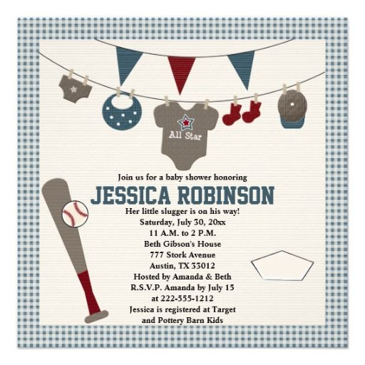 baseball themed baby shower invitations