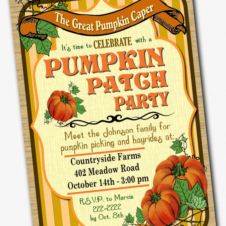 Birthday party invitations pumpkin patch
