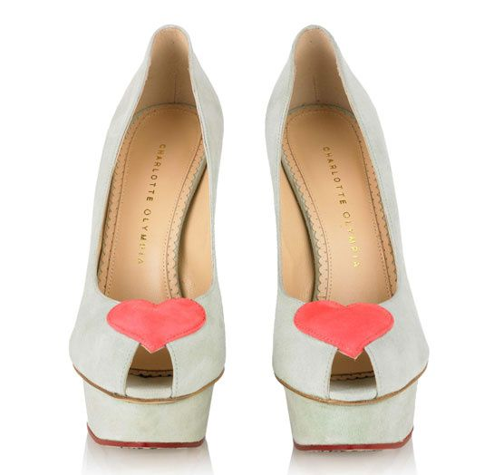 Charlotte Olympia Be My Valentine collection Delphine heels pistachio ...