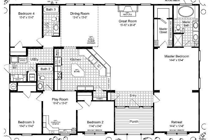 Triple Wide Mobile Home Floor Plans Las Brisas Floorplan