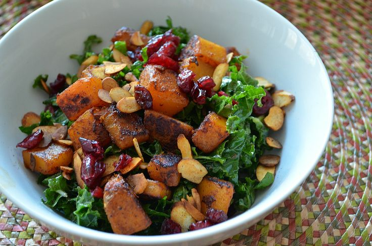 Kale Salad with Butternut Squash, Dried Cranberries & Pepitas - Three ...